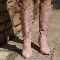 Women's Leatherette Chunky Heel Knee High Boots With Zipper Embroidery shoes