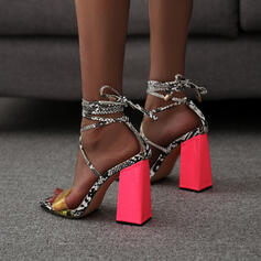 Women's PU Chunky Heel Sandals Pumps Square Toe With Lace-up Splice Color shoes
