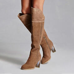 Women's Suede Chunky Heel Over The Knee Boots Riding Boots Round Toe With Ruched Lace-up Solid Color shoes