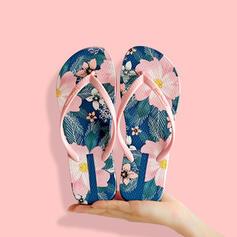 Women's PVC Flat Heel Sandals Flip-Flops Slippers With Floral Print shoes