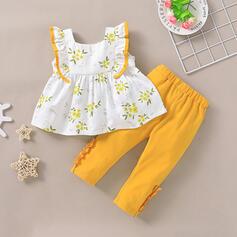 2-pieces Baby Girl Floral Print Cotton Set