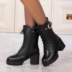 Women's PU Cone Heel Mid-Calf Boots Martin Boots Heels Round Toe With Zipper Lace-up Solid Color shoes
