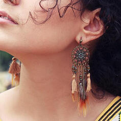 Vintage Boho Alloy Feather Cotton String Women's Earrings