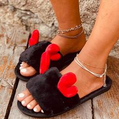 Women's Suede Flat Heel Peep Toe Slippers With Applique Faux-Fur Splice Color shoes
