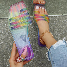Women's PU Flat Heel Sandals Peep Toe Slippers Toe Ring With Patchwork shoes