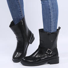 Women's PU Chunky Heel Ankle Boots Martin Boots Round Toe With Buckle Lace-up shoes