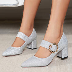 Women's Microfiber Leather Chunky Heel Pumps Closed Toe Low Top Pointed Toe With Rhinestone Sparkling Glitter Buckle shoes