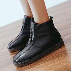 De mujer PU Tacón plano Botas al tobillo Encaje con Cremallera Correa Trenzada Color sólido zapatos