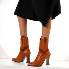 Women's PU Cone Heel Ankle Boots Pointed Toe With Zipper Splice Color shoes