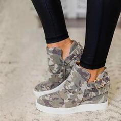 De mujer Lona Tacón plano Planos Botas Botas al tobillo con Hebilla zapatos