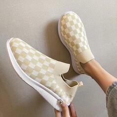 Women's Flying Weave Flat Heel Slip On With Splice Color shoes