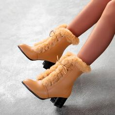 Women's PU Cone Heel Ankle Boots Round Toe With Faux-Fur shoes