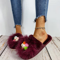 Women's Suede Flat Heel Flats Round Toe With Beading Imitation Pearl Faux-Fur shoes