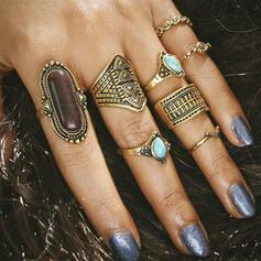 Exquisite Vintage Natural Stone Alloy Women's Rings 8 PCS