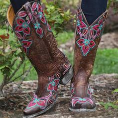 De mujer PU Tacón ancho Botas de equitación Dedo del pie puntiagudo con Color de empalme Bordado zapatos