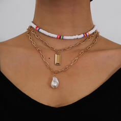 Fashionable Sexy Butterfly Shaped Simple Alloy Imitation Pearls With Pearls Women's Ladies' Necklaces 3 PCS
