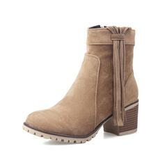 De mujer PU Tacón ancho Botas al tobillo Encaje con Borla zapatos