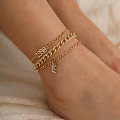 Sexy Classic Alloy With Gold Plated Women's Ladies' Anklets 4 PCS