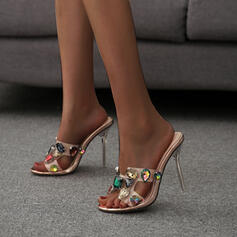 Women's PU Stiletto Heel Sandals Pumps With Rhinestone shoes