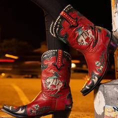 Women's PU Chunky Heel Mid-Calf Boots Round Toe With Rivet Splice Color Embroidery shoes
