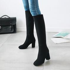 De mujer Cuero Tacón ancho Botas a la rodilla Encaje con Color sólido zapatos