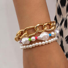 Fashionable Sexy Boho Alloy Imitation Pearls With Pearls Women's Ladies' Bracelets 3 PCS