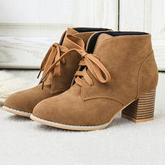 Women's Suede Chunky Heel Ankle Boots Low Top With Lace-up Solid Color shoes