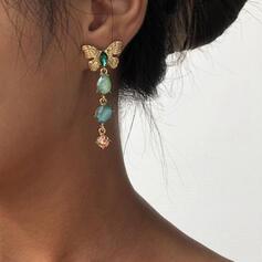 Caliente De la mariposa Aleación Diamantes de imitación Pendientes 2 piezas
