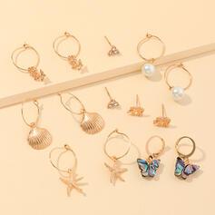 Aleación Perla con Perlas de imitación Cáscara De la mariposa Estrella de mar Sistemas de la joyería (Juego de 14)