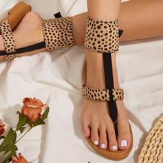 Women's PU Flat Heel Sandals Peep Toe With Animal Print shoes