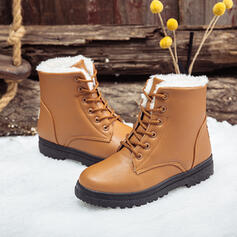 Women's PU Low Heel Ankle Boots Snow Boots Round Toe Winter Boots With Lace-up Solid Color shoes