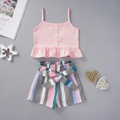 2-pieces Toddler Girl Button Ruffle Striped Print Cotton Set