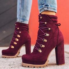 De mujer Ante Tacón ancho Salón Dedo del pie puntiagudo con Rivet Hebilla zapatos