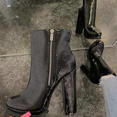 De mujer PU Tacón ancho Salón Dedo del pie puntiagudo con Cremallera zapatos