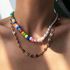 Colorido Bohemio Cadena de enlace En capas Aleación con Perlas Collares 2 piezas