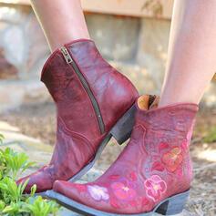 De mujer PU Tacón ancho Botas al tobillo Botas de equitación Dedo del pie puntiagudo con Cremallera Bordado zapatos