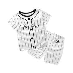 2-pieces Baby Boy Letter Striped Cotton Set