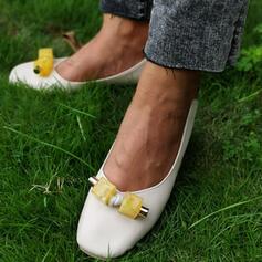 De mujer PU Tacón ancho Salón Punta cuadrada con Flor zapatos