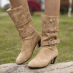 De mujer PU Tacón ancho Botas longitud media con Rivet Hebilla zapatos
