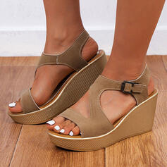 Women's Leatherette Wedge Heel Sandals Platform Wedges Peep Toe With Buckle Hollow-out shoes