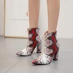 De mujer Cuero Tacón ancho Cima mas alta con Estampado de animales Cremallera zapatos