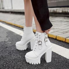 De mujer Cuero Tacón ancho Cima mas alta con Hebilla Cordones Otros zapatos