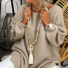 Con estilo Bohemio Piedra Natural Crystal Cadena algodón Los granos de madera con Borlas Perlas Collares