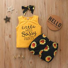 3-pieces Baby Girl Letter Floral Print Cotton Set