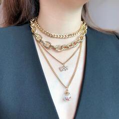 De moda cobre Vidrio Sistemas de la joyería Collares (4 piezas)