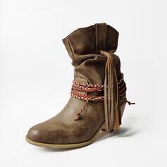 De mujer PU Tacón ancho Botas longitud media Encaje con Cordones Borla zapatos