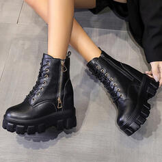 Women's Leatherette Low Heel Ankle Boots With Zipper Lace-up Solid Color shoes