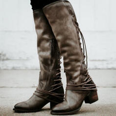 Women's PU Chunky Heel Over The Knee Boots Round Toe With Lace-up Splice Color shoes