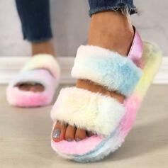 De mujer Tacón plano Sandalias Plataforma Encaje Pantuflas con Piel zapatos