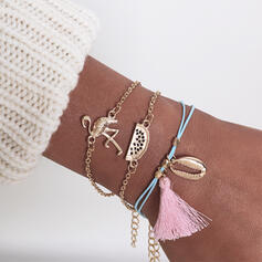 Boho Layered Tassels Design Alloy Cotton String With Shell Women's Ladies' Bracelets 3 PCS